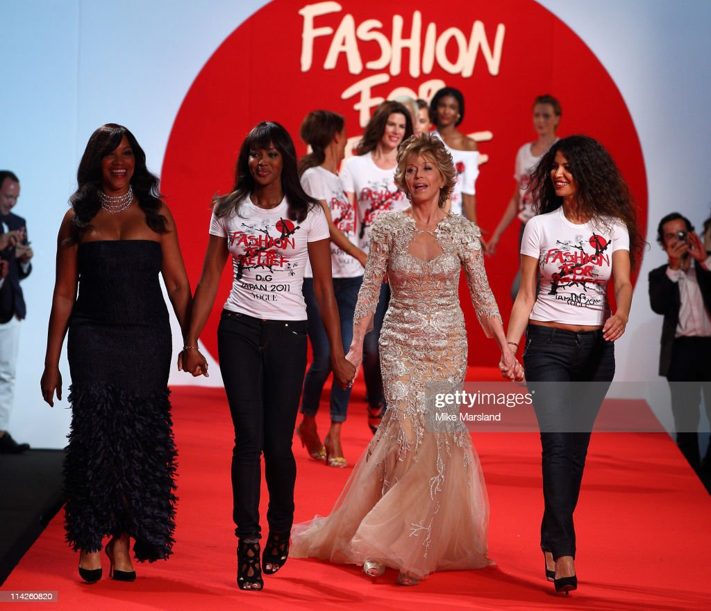 Jane Fonda and Naomi Campbell attend the ' Fashion For Relief Japan Fundraiser' during the 64th Annual Cannes Film at Forville Market on May 16, 2011 in Cannes, France.