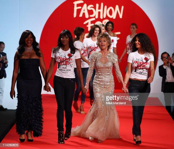 Jane Fonda and Naomi Campbell attend the ' Fashion For Relief Japan Fundraiser' during the 64th Annual Cannes Film at Forville Market on May 16 2011...