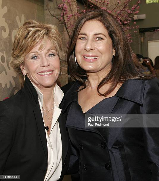 Jane Fonda and Paula Wagner during VDay and Glamour Honor Women in Conflict Zones Working For Peace at Campanile in Los Angeles California United...