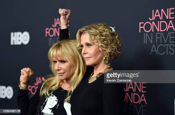 """Jane Fonda and Rosanna Arquette attend the premiere of HBO documentary film """"Jane Fonda In Five Acts """" at Hammer Museum on September 13, 2018 in Los..."""
