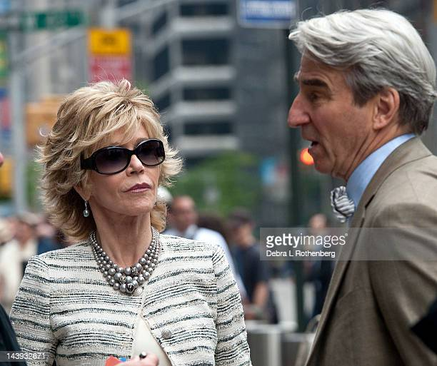 Jane Fonda and Sam Waterston filming on location for The Newsroom on May 5 2012 in New York City