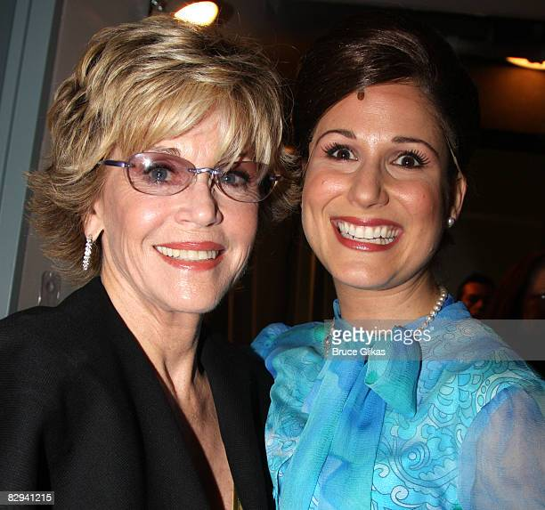 Jane Fonda and Stephanie J Block pose backstage at The Opening Night of Dolly Parton's 9 to 5 at The Ahmanson Theater on September 20 2008 in Los...