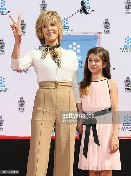 Jane Fonda and Viva Vadim attend actress Jane Fonda's Handprint/Footprint Ceremony during the 2013 TCM Classic Film Festival at TCL Chinese Theatre...