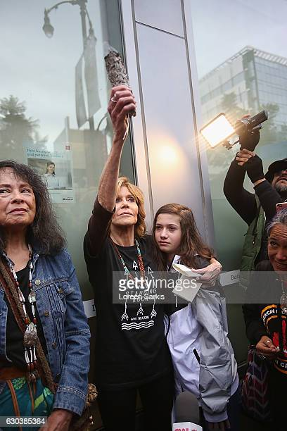Jane Fonda and Viva Vadim attend #BankExit Rally on December 21 2016 in Los Angeles California