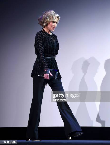 Jane Fonda appears onstage at the HFPA Film Restortion Summit The Global Effort to Preserve Our Film Heritage at The Theatre at Ace Hotel on March 09...
