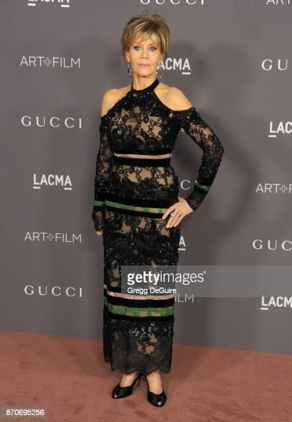 Jane Fonda arrives at the 2017 LACMA Art Film Gala honoring Mark Bradford and George Lucas at LACMA on November 4 2017 in Los Angeles California