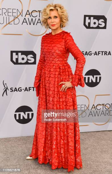 Jane Fonda arrives at the 25th Annual Screen Actors Guild Awards at the The Shrine Auditorium on January 27 2019 in Los Angeles California