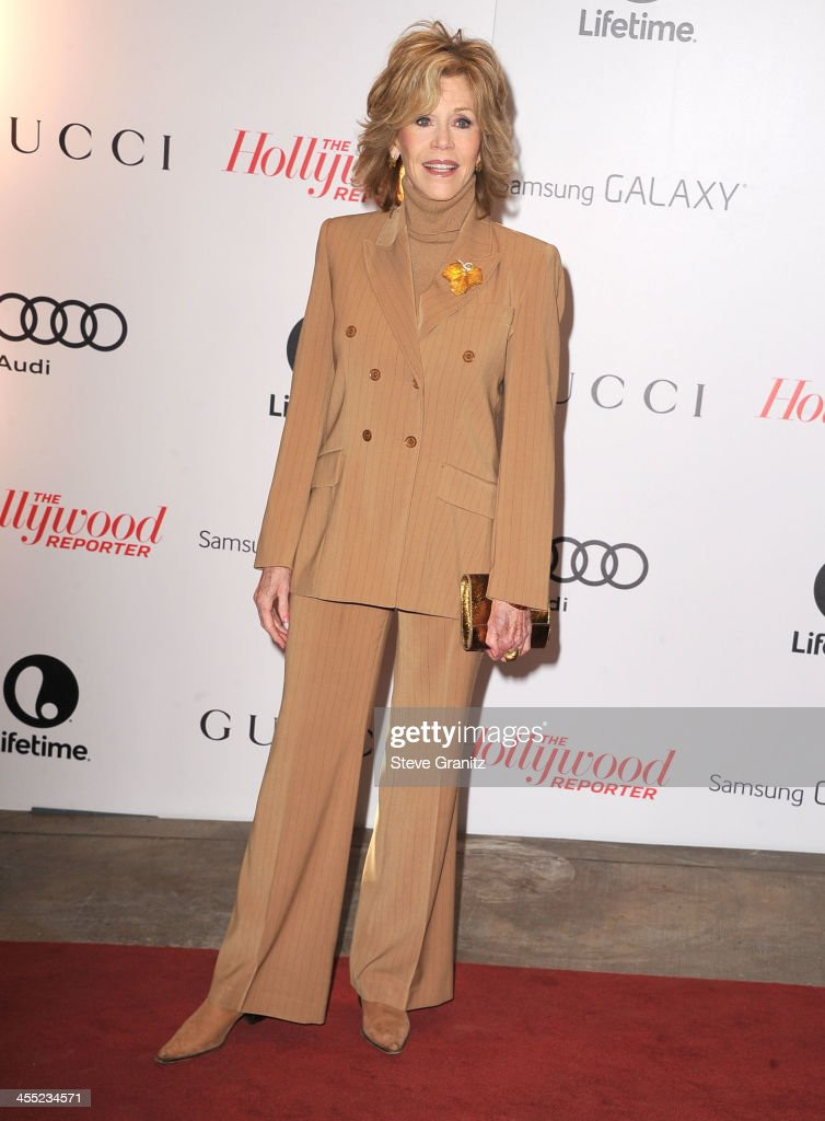 Jane Fonda arrives at the The Hollywood Reporter's Women In Entertainment Breakfast Honoring Oprah Winfrey at Beverly Hills Hotel on December 11, 2013 in Beverly Hills, California.