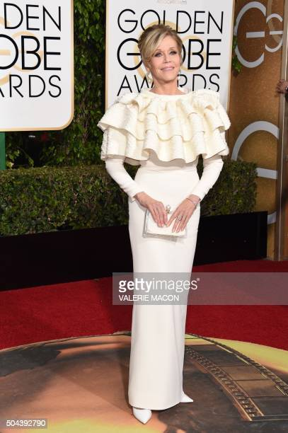 Jane Fonda arrives for the 73nd annual Golden Globe Awards January 10 at the Beverly Hilton Hotel in Beverly Hills California AFP PHOTO / VALERIE...