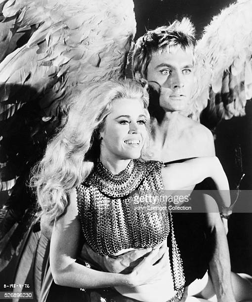 Jane Fonda as Barbarella and John Phillip Law as Pygar in the 1967 filmBarbarella