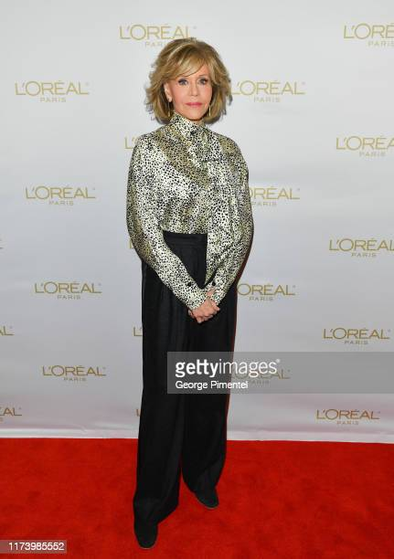 Jane Fonda attends the L'Oréal In Conversation with Jane Fonda during the 2019 Toronto International Film Festival held at Hotel X on September 11,...