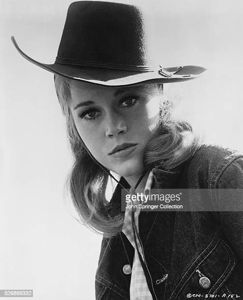 Jane Fonda dressed as her character Catherine Ballou from the 1965 comedic western Cat Ballou