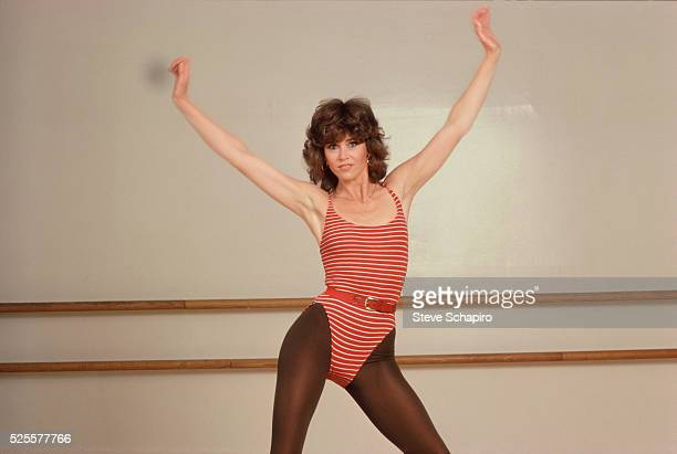 Jane Fonda during photo shoot for aerobic workout book