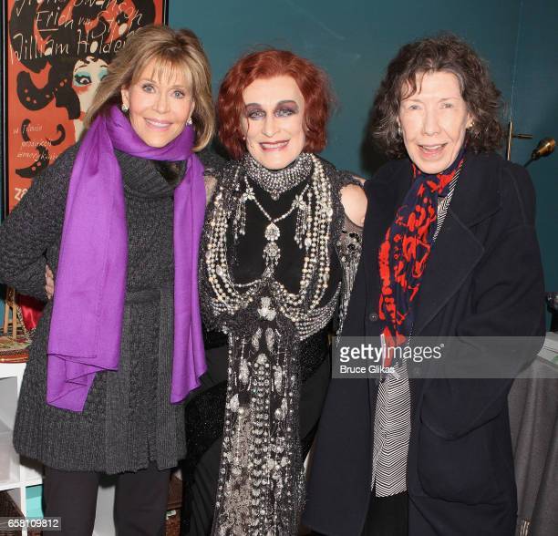 Jane Fonda Glenn Close as Norma Desmond and Lily Tomlin pose backstage at the hit musical Sunset Boulevard on Broadway at The Palace Theatre on March...