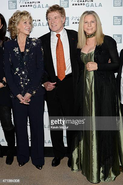 Jane Fonda Honoree Robert Redford and Barbra Streisand attend the 42nd Chaplin Award Gala at Alice Tully Hall Lincoln Center on April 27 2015 in New...