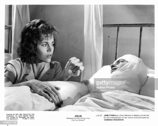 Jane Fonda is deeply concerned for her hospitalized friend Vanessa Redgrave in a scene from the film 'Julia' 1977