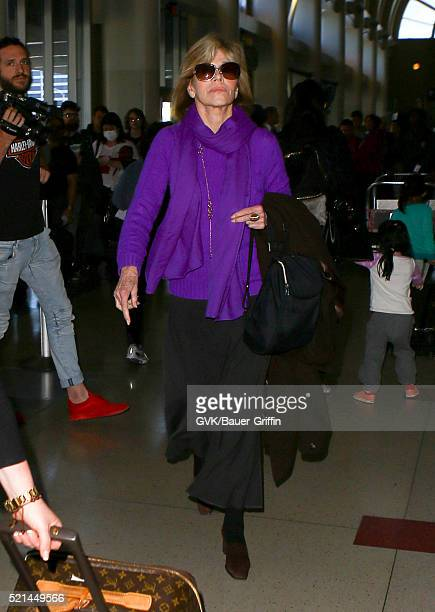 Jane Fonda is seen at LAX on April 15 2016 in Los Angeles California