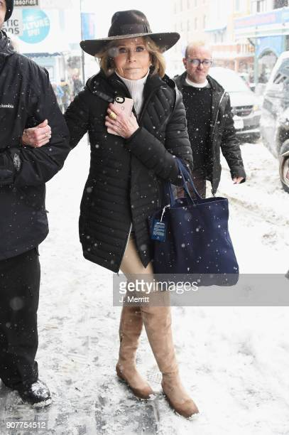 Jane Fonda is seen at the 2018 Sundance Film Festival wearing SOREL on January 20 2018 in Park City Utah