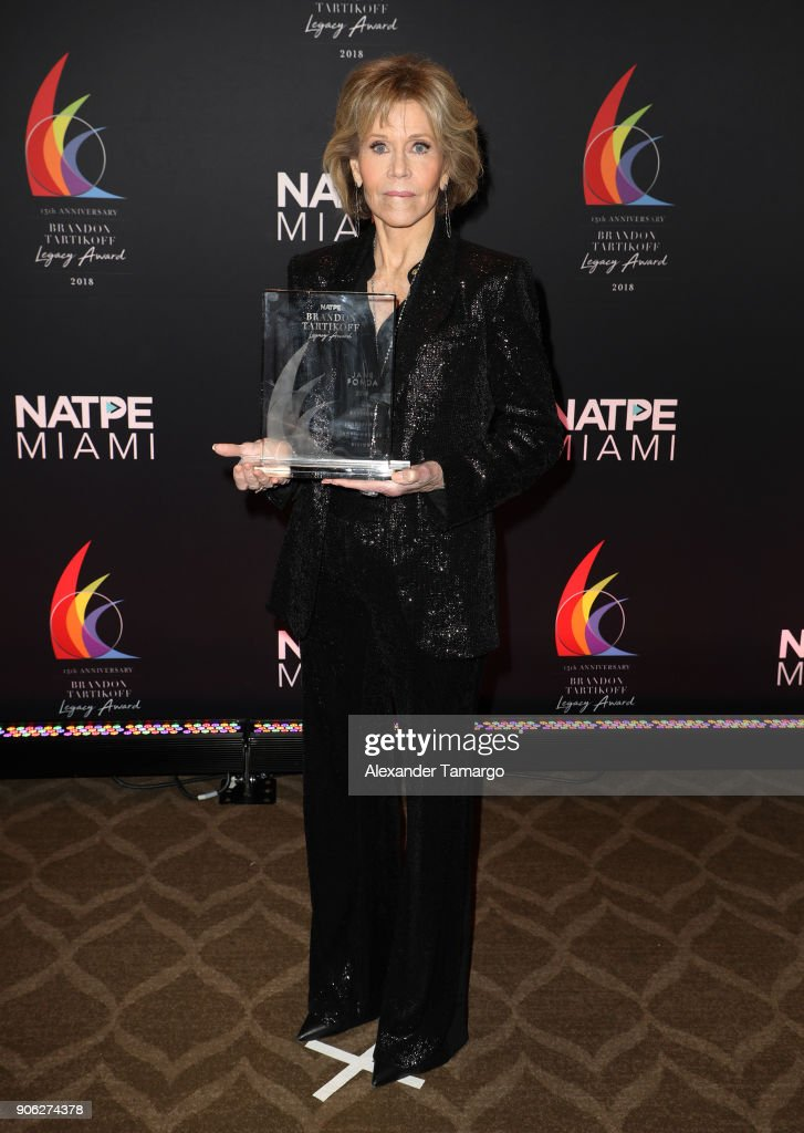 Jane Fonda is seen at the Brandon Tartikoff Legacy Awards at NATPE 2018 at the Fontainebleau Hotel on January 17, 2018 in Miami Beach, Florida.
