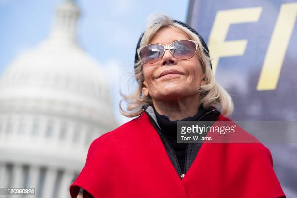 Jane Fonda is seen during a weekly rally to call for action on the Green New Deal on the East Front of the Capitol on November 8 2019 Ben Cohen and...