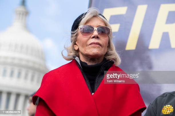 Jane Fonda is seen during a weekly rally to call for action on the Green New Deal on the East Front of the Capitol on November 6 2019 Ben Cohen and...