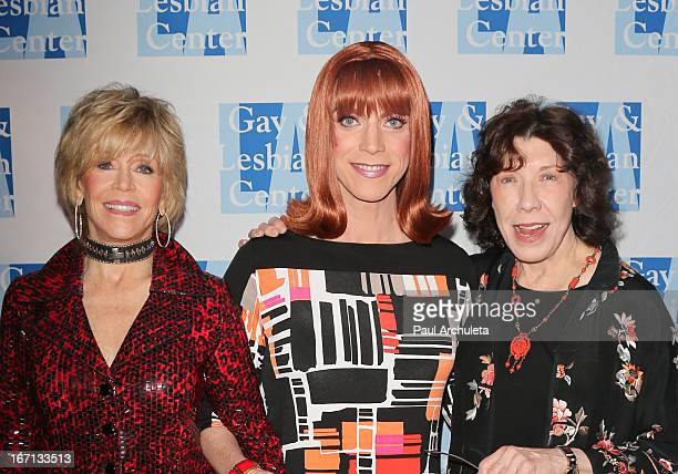 """Jane Fonda, Miss Coco Peru and Lily Tomlin attend a """"Conversations With Coco"""" at the Gay & Lesbian Center on April 20, 2013 in Los Angeles,..."""