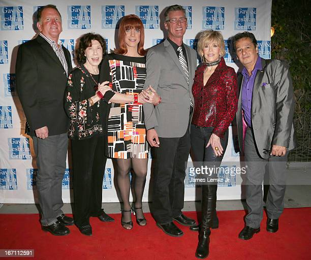 Jane Fonda, Miss Coco Peru and Lily Tomlin attend The L.A. Gay & Lesbian Center's Lily Tomlin/Jane Wagner Cultural Arts Center Presents Conversations...