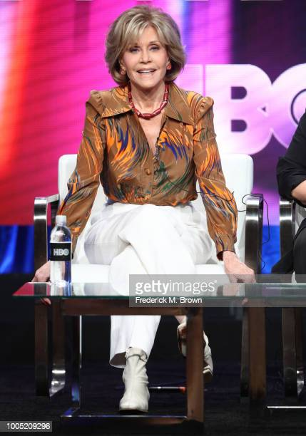 Jane Fonda of 'Jane Fonda in Five Acts' speaks onstage during the HBO portion of the Summer 2018 TCA Press Tour at The Beverly Hilton Hotelon July 25...