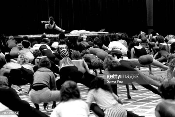 Jane Fonda on stage leads a class of more than 200 persons through a strenuous workout Friday at the Regency Hotel Credit The Denver Post