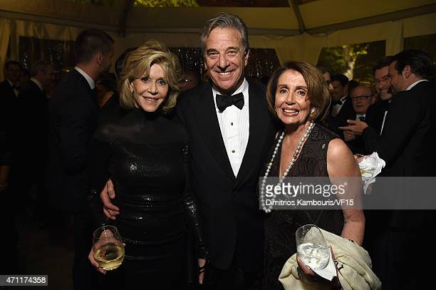 Jane Fonda Paul Pelosi and Nancy Pelosi attend the Bloomberg Vanity Fair cocktail reception following the 2015 WHCA Dinner at the residence of the...