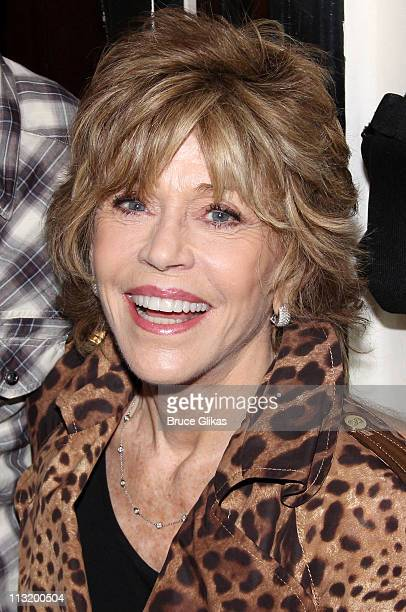 Jane Fonda poses backstage at the hit play Bengal Tiger at the Baghdad Zoo on Broadway at The Richard Rogers Theater on April 26 2011 in New York City
