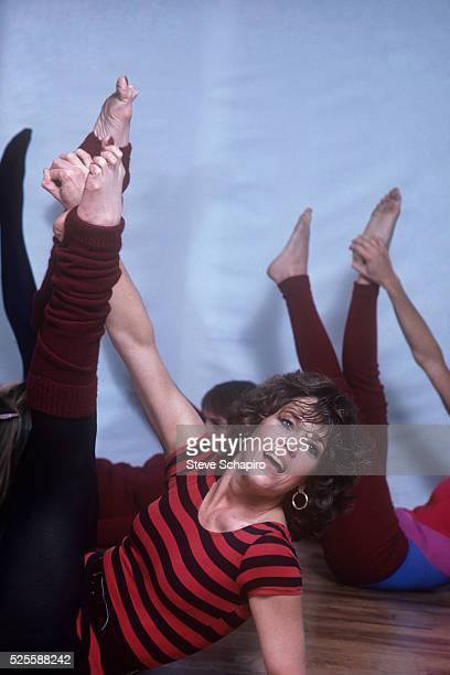 Jane Fonda posing for her book the Jane Fonda Workout Book
