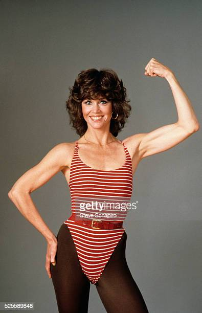 Jane Fonda posing for her book the Jane Fonda Workout Book