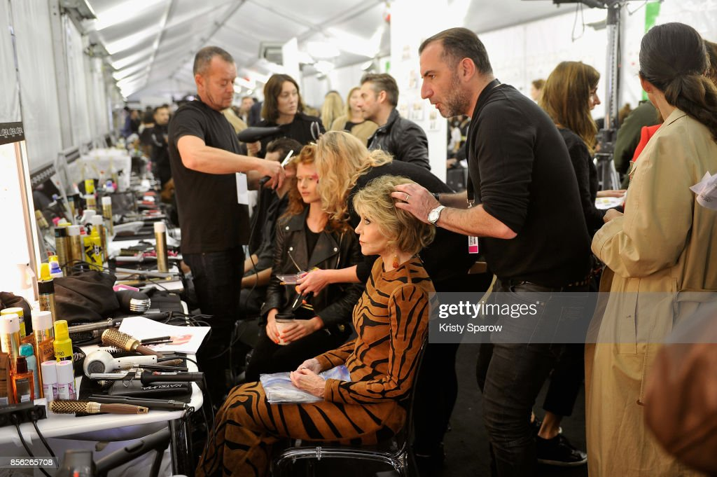 Jane Fonda prepares backstage prior Le Defile L'Oreal Paris as part of Paris Fashion Week Womenswear Spring/Summer 2018 at Avenue Des Champs Elysees on October 1, 2017 in Paris, France.