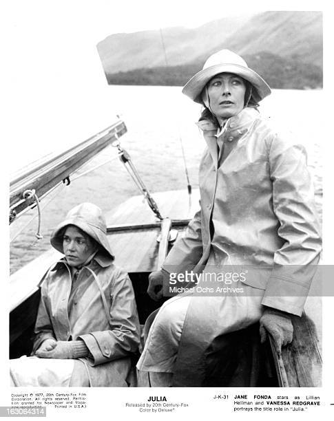 Jane Fonda rides in a boat with Vanessa Redgrave in a scene from the film 'Julia' 1977