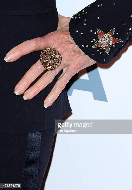 Jane Fonda ring detail attends the 42nd Chaplin Award Gala at Alice Tully Hall Lincoln Center on April 27 2015 in New York City