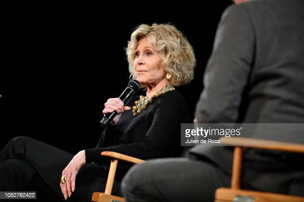 Jane Fonda speak on stage during Kering Women In Motion Master Class With Jane Fonda at la cinematheque on October 22 2018 in Paris France