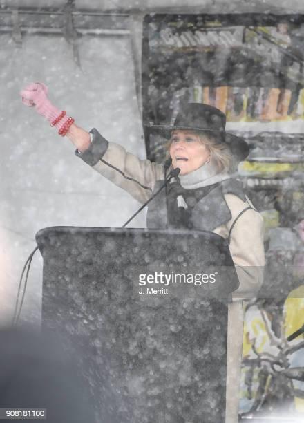 Jane Fonda speaks on stage during the Respect Rally during the Sundance Film Festival on January 20 2018 in Park City Utah
