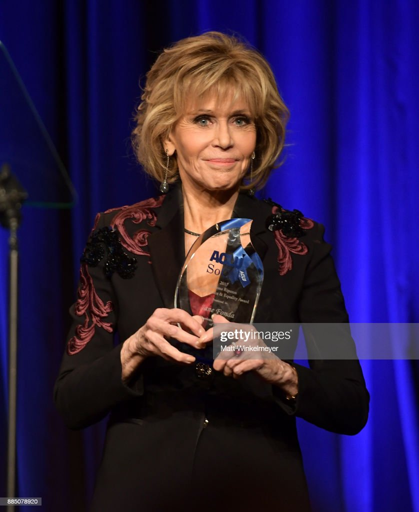 Jane Fonda speaks onstage at ACLU SoCal Hosts Annual Bill of Rights Dinner at the Beverly Wilshire Four Seasons Hotel on December 3, 2017 in Beverly Hills, California.