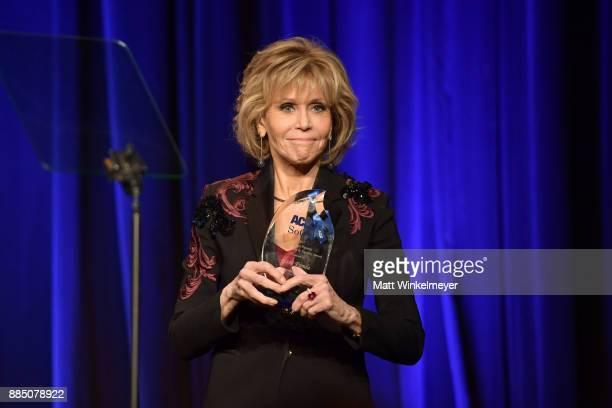 Jane Fonda speaks onstage at ACLU SoCal Hosts Annual Bill of Rights Dinner at the Beverly Wilshire Four Seasons Hotel on December 3 2017 in Beverly...