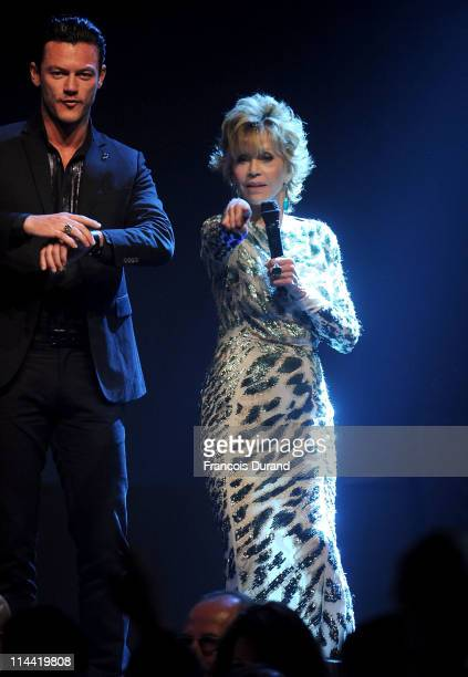 Jane Fonda speaks onstage at amfAR's Cinema Against AIDS Gala during the 64th Annual Cannes Film Festival at Hotel Du Cap on May 19, 2011 in Antibes,...