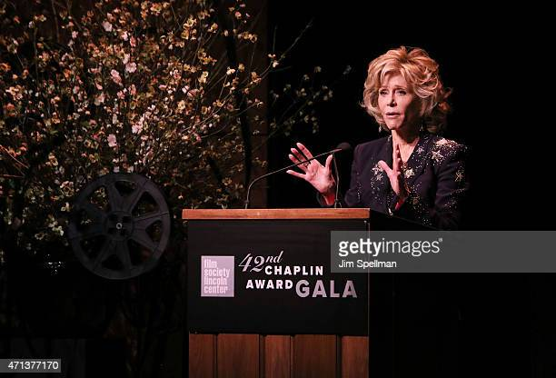 Jane Fonda speaks onstage at the 42nd Chaplin Award Gala at Alice Tully Hall Lincoln Center on April 27 2015 in New York City