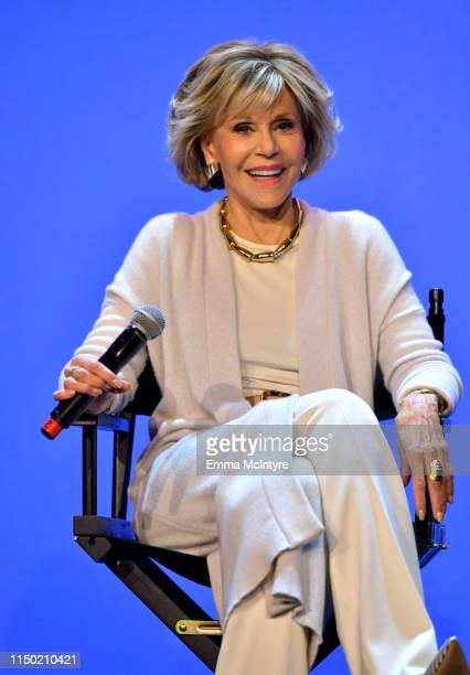 Jane Fonda speaks onstage at the Netflix FYSEE Grace and Frankie ATAS Official Red Carpet and Panel at Raleigh Studios on May 18 2019 in Los Angeles...