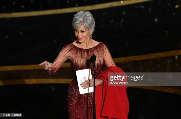 Jane Fonda speaks onstage during the 92nd Annual Academy Awards at Dolby Theatre on February 09, 2020 in Hollywood, California.