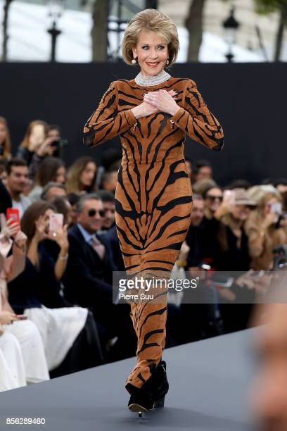 Jane Fonda walks the runway during the Le Defile L'Oreal Paris show as part of the Paris Fashion Week Womenswear Spring/Summer 2018 on October 1 2017...