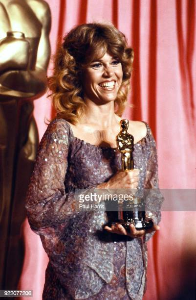 Jane Fonda winning best actress Oscar for the film Coming Home at the 51st Academy Awards ceremony, organized by the Academy of Motion Picture Arts...