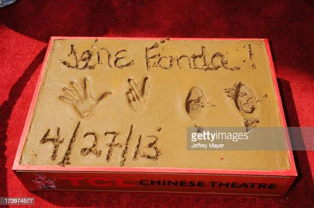 Jane Fonda's hand and footprints in cement at actress Jane Fonda's Handprint/Footprint Ceremony during the 2013 TCM Classic Film Festival at TCL...