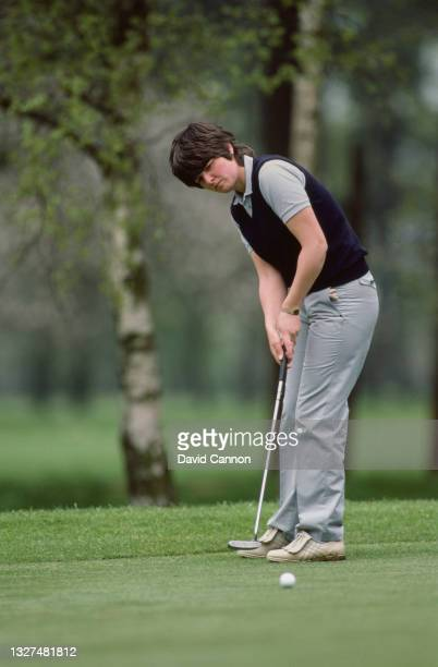 Jane Forrest of Great Britain follows her putt to the hole during the Ladies European Tour Ford Ladies' Classic golf tournament on 7th May 1983 at...