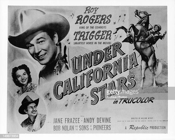 Jane Frazee Roy Rogers and Trigger promotional art for the film 'Under California Stars' 1948