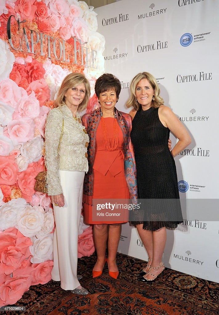 Jane Gayle, Valerie Jarrett and Elizabeth Thorp attend Capitol File's WHCD Weekend Welcome Reception with Cecily Strong at The British Embassy on April 24, 2015 in Washington, DC.